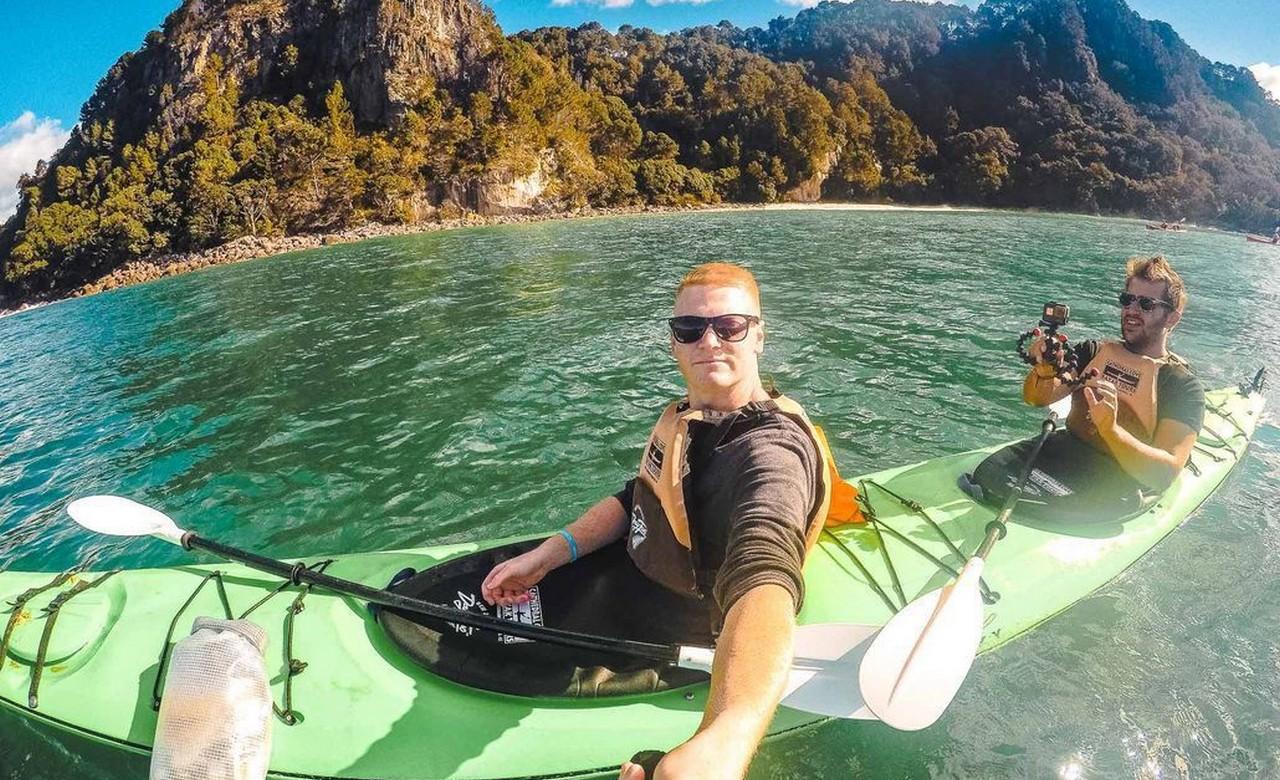 Kayak around Cathedral Cove